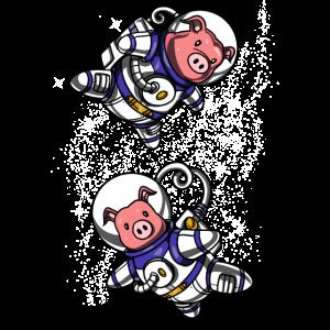 Schwein-Raum-Astronauten-lustige Schweinefleisch-Vieh