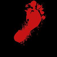 Blutiger Fußabdruck