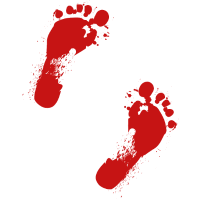 Blutige Fußabdrücke