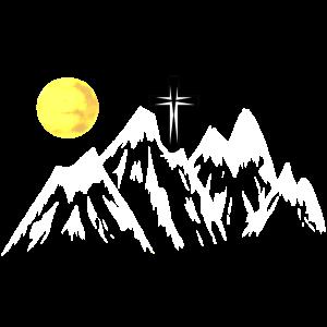 Natur Berg Gebirge Kreuz Bergsteiger klettern Mond