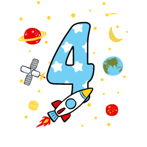 Kinder 4. Geburtstag Shirt Rakete Jungen 4 Jahre
