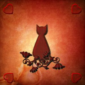 Die Katze mit dekorativen Blumen.