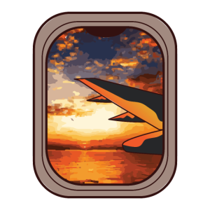 Flugzeug Fenster Sonnenaufgang Farbig Geschenk