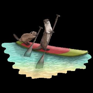 Biber und Otter beim Stand up Paddling im Meer