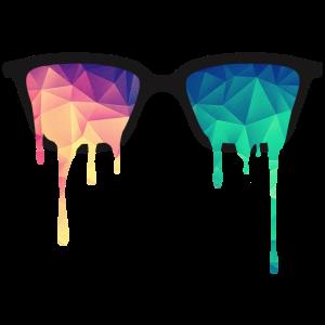 Psy Nerd Brille mit LSD Farb-Tropfen / Dreiecken