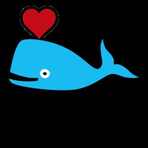 Blauer Wal Herz Saeugetier Geschenk
