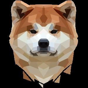Akita Shiba Inu Hund Low Poly Art Polygon