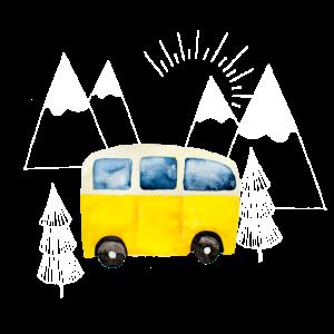 Der gelbe Camping Bus in den Bergen