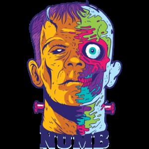 Zombie Kopf Psychedelisch Horror Drogen.