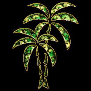 Palmen Tropical Tattoo Sommer Wellen Illustration