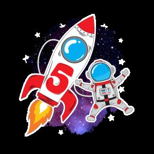 5. Geburtstag Jungen Astronaut Rakete Planet Stern