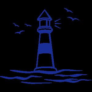 Leuchtturm, Meer, Möwen
