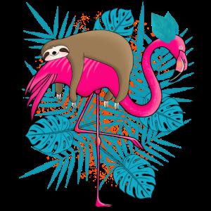 Faultier Flamingo Tropisch