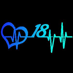 Herzschlag 18 Volljährig Achtzehnter Geschenk Puls