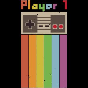Vintage Style Gamer Player 1 Geschenk