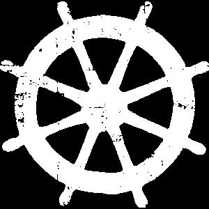 Steuer Steuerrad Segeln Segelboot (Vintage/Weiß)