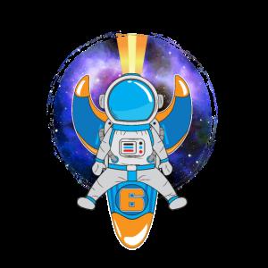 6. Geburtstag Astronaut Sterne Rakete Planet