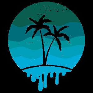 Retro Palmen in vintage blau
