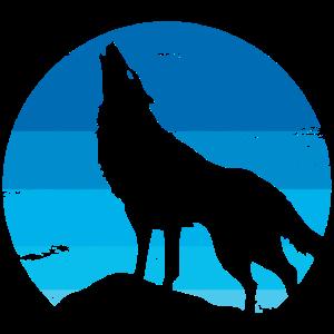 Einsamer Wolf vor dem Vollmond Vintage Retro