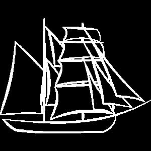 Weißes Segelschiff Zeichnung Geschenk Idee Kinder