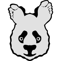 Panda mit Fuß Ohr