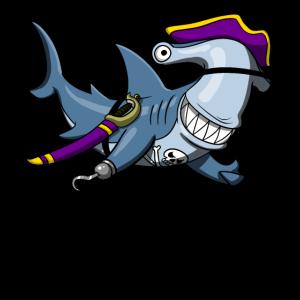 Hammerhai-Haifisch-Pirat Lustiger Ozean-Seemann