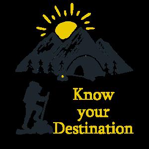 Know your Destination Bergsteigen Wanderer Sonne