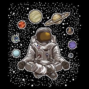 Yoga Astronaut meditiert im Weltraum und fühlt