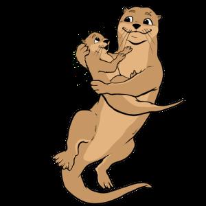 Otter Mama Tochter Kind Baby Süß Familie Geschenk