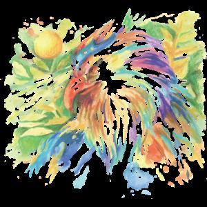 Farbenfroher Hahn gemalt