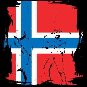 Norwegen Angler Fisch Reise Hobby Geschenk Flagge
