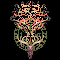 Viking Elch Schädel Skelett Valknut Runen Geschenk