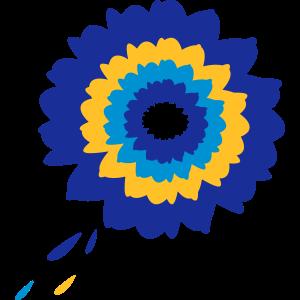 Blaue Blume im Retro-Style