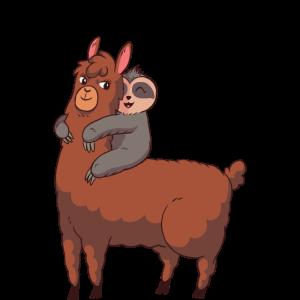 Süßes Llama mit Faultier Partner Shirt.