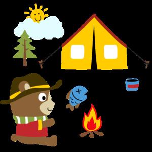 Camping niedlicher Bär Lagerfeuer Zelten Kinder