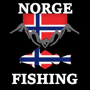 Norwegen Angeln Flagge Berge Fisch