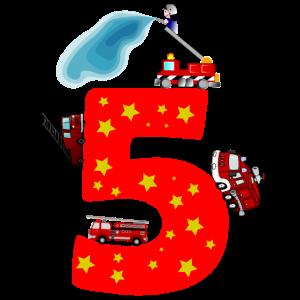 5. Geburtstag 5 Jahre Feuerwehr Auto Geschenk