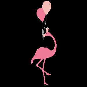 Pink Flamingo Tshirt mit Krone und Ballon