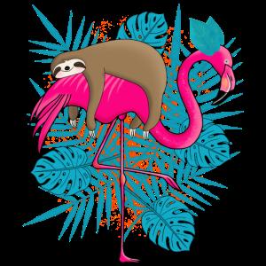 Faultier Flamingo Poster