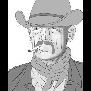 Porträt des Cowboys mit Hut