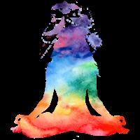 Regenbogen-Aquarell-Yoga