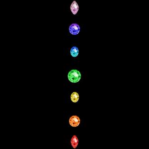 Blume des Lebens mit Regenbogen Chakren