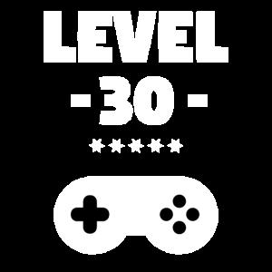 Level 30! Ein cooles Gamershirt zum Dreißigsten