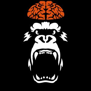 Gehirn Gorilla Gehirn offenem Mund
