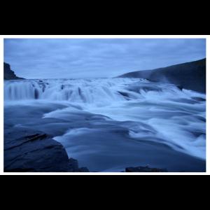 Gullfoss Wasserfall bei Nacht Poster Island