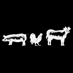 Vegan Bauernhof Tiere Schwein Kuh Huhn Geschenk
