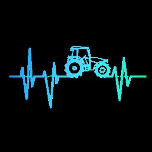 Traktor Herzschlag Puls Maschine Geschenk Trecker
