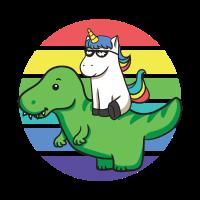 cooles Einhorn reitet auf Dinosaurier Rex