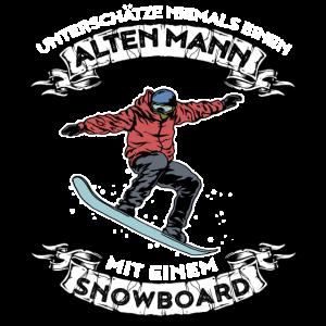 Unterschätze nie einen alten Mann mit Snowboard