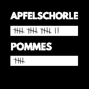 Apfelschorle und Pommes Strichliste Lustig Witzig
